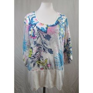 Fresh Produce Multi Color Floral 3/4 Sleeve Top M